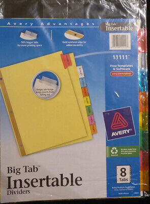 New Big 8-tab Dividers Binder Insertable Avery Multicolor Print Inserts 11111