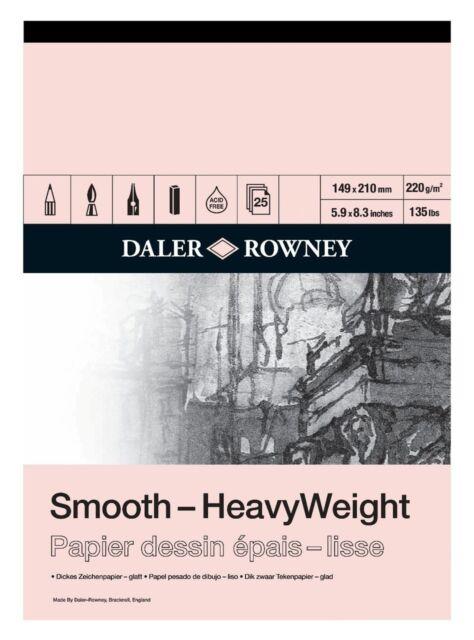 DALER ROWNEY SMOOTH HEAVYWEIGHT CARTRIDGE PAD - A5 (220gsm)
