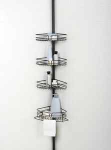 Zenna Home 4-Shelf Tension Pole Bath and Shower Caddy, Resists Rust, Rich Bronze