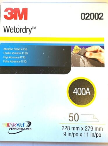 """3M 9 x 11"""" SHEETS 400 GRIT WET OR DRY SAND PAPER 50 SHEETS PER PACK #02002"""