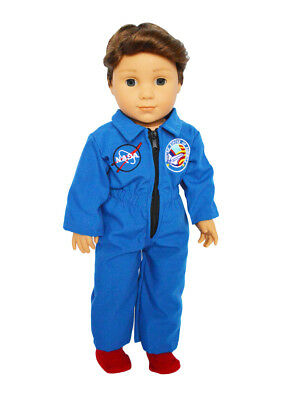 Blue Nasa Inspired Outfit Fits 18 American Girl Doll Boy Logan Or Luciana