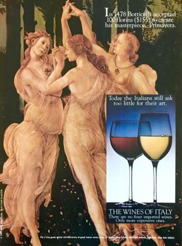 1983 Wines of Italy PRINT AD Botticelli Primavera Italian Masterpieces Red White