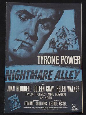 NIGHTMARE ALLEY 1947 Pressbook Tyrone Power Joan Blondell Film Noir posters
