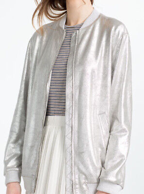 Zara Oversized Faux Leather Metallic Silver Bomber Jacket Coat 90s Small 8 10 12