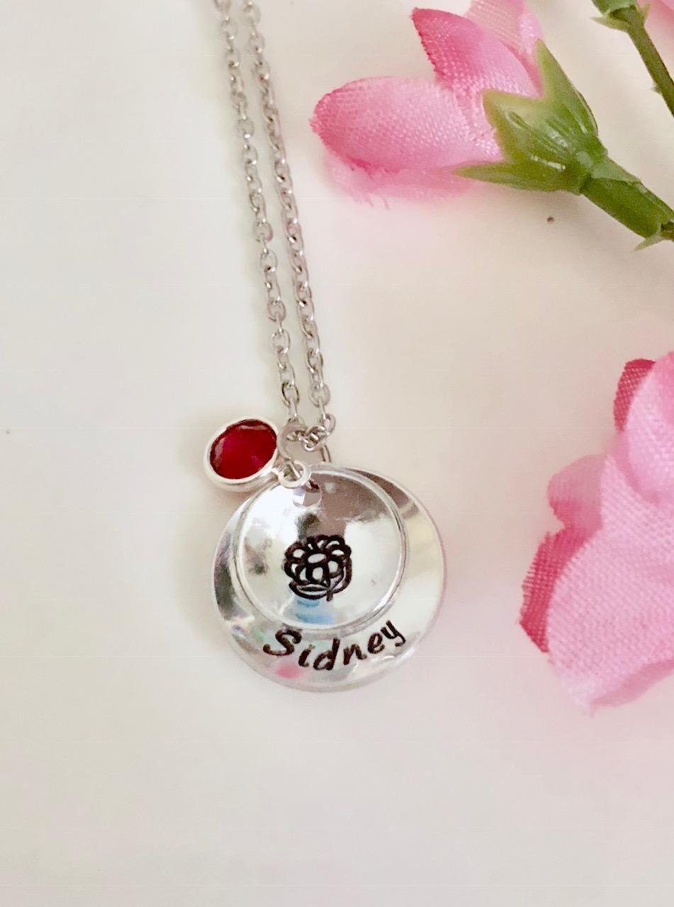 Personalized Necklace name Flower Girl Necklace Gift Hand St