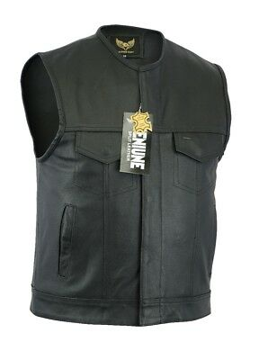 Men SOA Anarchy Collarless motorcycle biker leather vest fast shipping