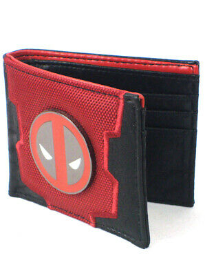 Deadpool Carbon Fiber Bi-Fold Wallet Metal Badge Marvel Comics New In Box