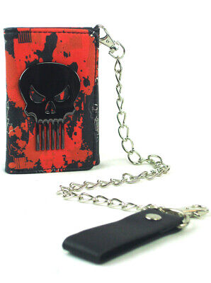 Red Tri-fold Wallet (The Punisher Tri-Fold Chain Wallet Red Marvel Comics Heroes Skull New With Tag)