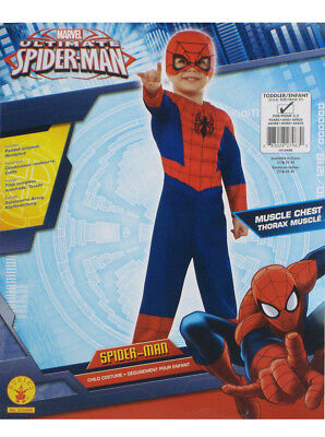 Ultimate Spider-Man Muscle Chest Costume Toddler Size 2T Marvel Halloween New