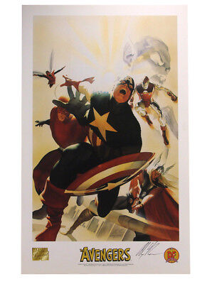Avengers Commemorative Lithograph Signed Alex Ross Artist Marvel Comics Heroes (Alex Ross Marvel Avengers Signed)