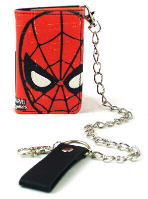 Red Tri-fold Wallet (Spider-Man Tri-Fold Chain Wallet Marvel Comics Heroes Red New With Tag)