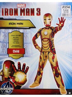 Iron Man Mark 42 Costume Child Size Large 12-14 Bodysuit Mask 2-Piece Marvel New (Iron Man Mark 2 Costume)