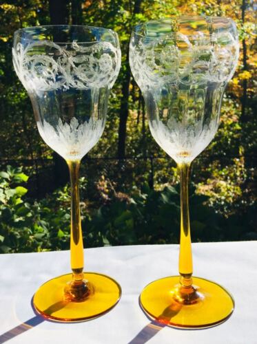2 Vintage Clear Etched Crystal Bowls with Amber Stem, Liqueur Glasses