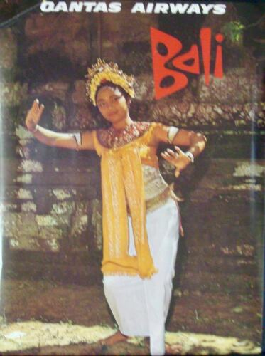 QANTAS AIRLINES BALI INDONESIA Vintage 1973 Travel poster 14.5x19