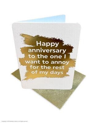 Anniversary Greetings Card (Mini) Funny Comedy Humour Cheeky Joke Husband Wife