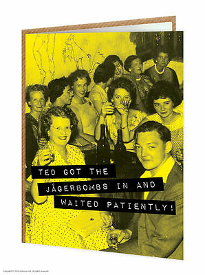 Brainbox Candy funny humour 'Jagerbombs' birthday greeting card cheeky old photo