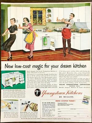 1949 Mullins Mfg Warren OH Youngstown Kitchens Print Ad Husband Wife Aprons