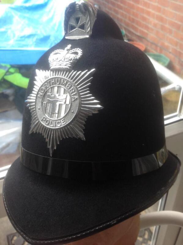 Vintage  British POLICE BOBBY coxcomb (batwing) helmet NORTHUMBRIA POLICE