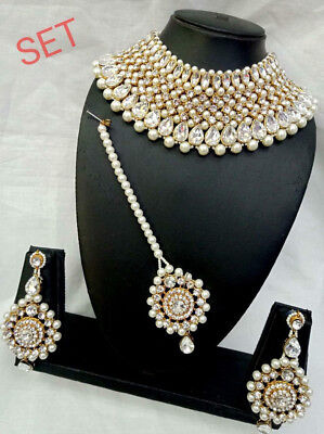 Indian Bollywood Designer Pearl Fashion Bridal Jewelry Gold Plated Necklace Set