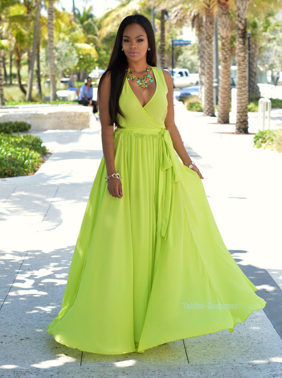Trendy Dress Solid Color Girls Beach Summer Maxi Holiday Dress Long ...