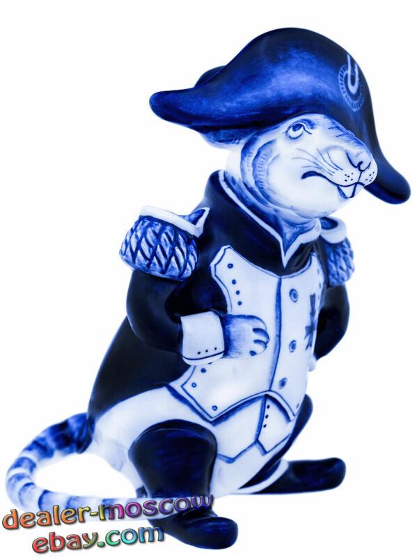 Russian Porcelain Author Gzhel Hand Painting Humor Figurine Rat Napoleon