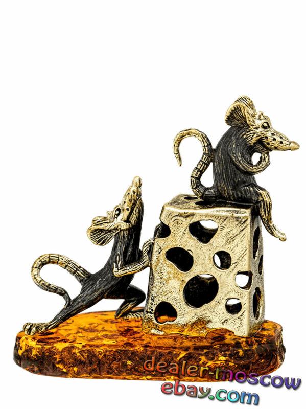 Bronze Solid Brass Baltic Amber Humor Figurine Rats - Theft of Cheese IronWork