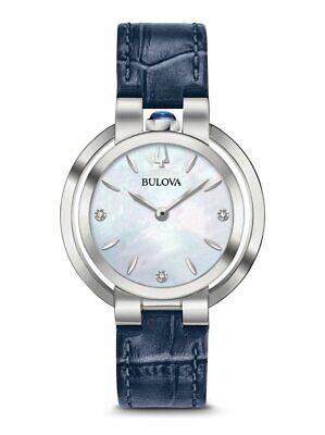Bulova Women's Rubaiyat Quartz Diamond Accent Markers Blue 35mm Watch 96P196