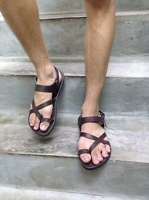 Dark Brown Leather Mens Sandals Handmade Roman Jesus Ankle Strap Flat - Mens Roman Sandals