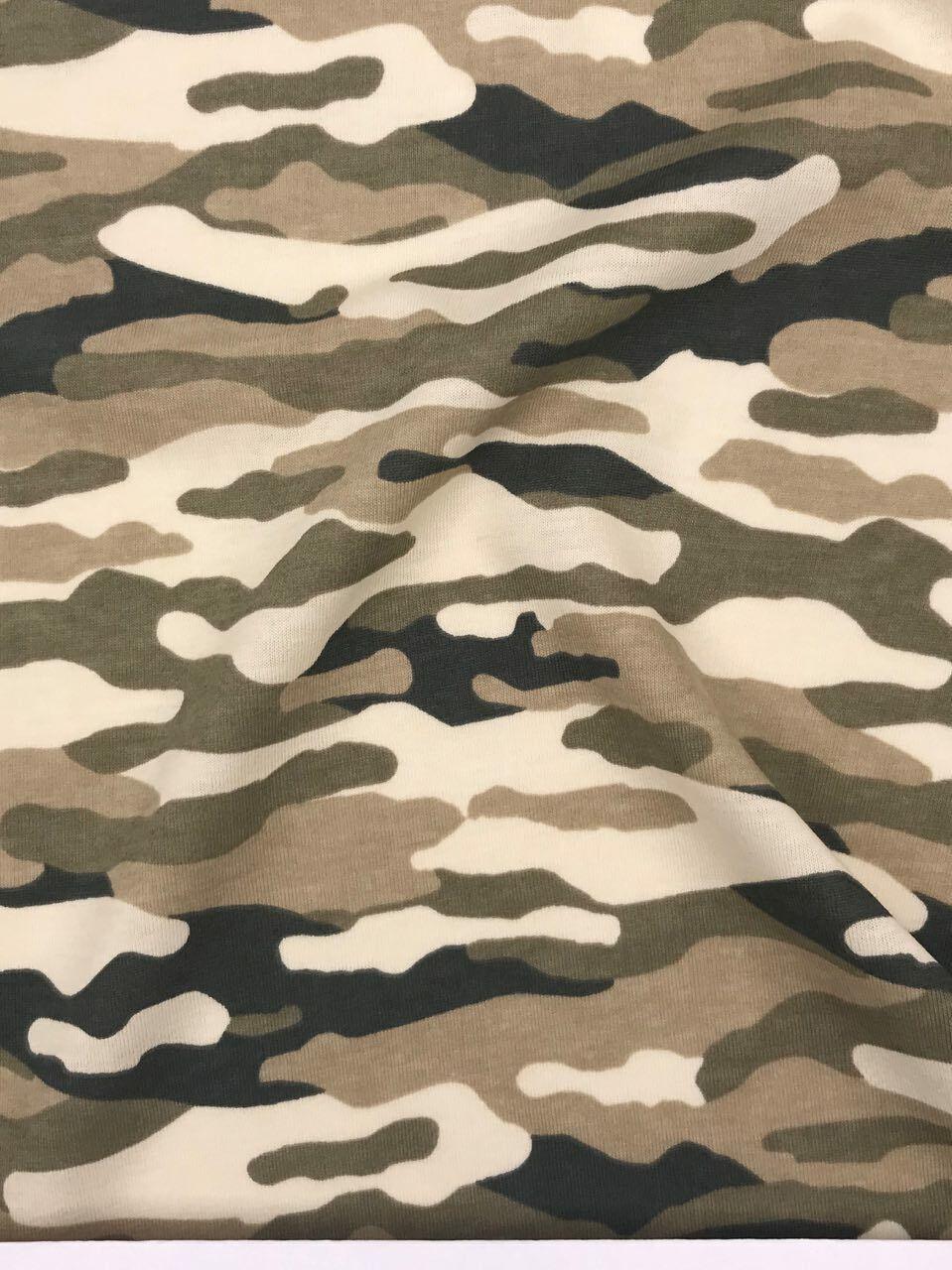 Jersey Interlock Kinderstoff Camouflage Military hellbeige Breite 155cm