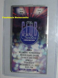 Phish concert ticket stub 2002 nye madison square garden trey anastasio rare for Phish madison square garden tickets