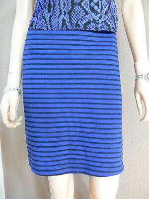 2b Bebe Elastic Band Striped Mini Skirt Sz. Xl - Blue/black