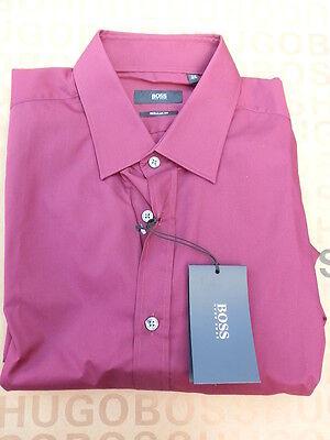 Hugo Boss Men Pink Regular Fit Black Label Suit Cotton Shirt Large 15.5 - 39
