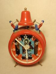 Vtg Jerger Red Busy Boy Bell Wind Up Alarm Clock