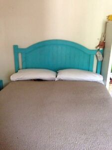 Gas lift storage bed base double bed with wooden head board Richmond Yarra Area Preview