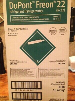 Dupont R-22 Refrigerant Sealed 30 Lbs. Product Of Usa Same Day Shipping