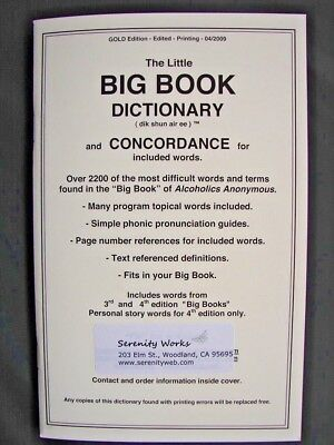 Alcoholics Anonymous AA Big Book Dictionary and Concordance Fits Inside Big Book for sale  Woodland