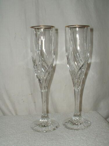 "2 Lenox Debut Gold 9"" Fluted Champagne Glasses"