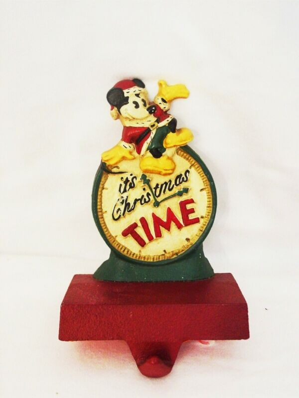 MIDWEST MCF Disney Cast Iron ITS CHRISTMAS TIME Mickey Stocking Holder Hanger