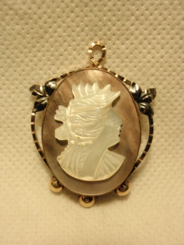 Vintage Abalone Shell Cameo Brooch Pin PR ST CO 1/20 12K Gold Filled