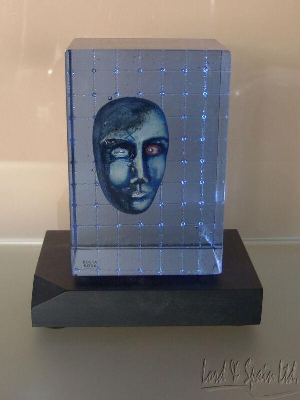 Kosta Boda Art Glass Bertil Vallien CUBE WITH FACE Sculpture-Ltd Ed 100