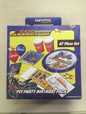 NIB Smooth Industries MX Superstars Motocross 67 pc Birthday Pit Party Pack - Motocross Party Supplies