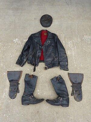 Black Leather Kit Karson Motorcycle Jacket Engineer Boots Hansens Gauntlets Hat
