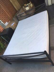 lovely black metal queen size bed frame + used mattress , can del Box Hill North Whitehorse Area Preview
