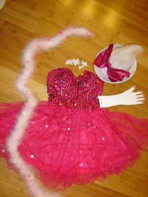 Ringmaster circus performer costume womens S pink sequin dress boa Mardi Gras](Circus Performer Costume)