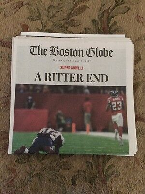 Feb.6th 2017 Boston Globe miss print of New England Patriots loss (A BITTER END)