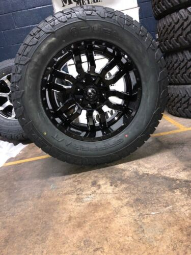 "20x10 Sledge Black Wheels 35"" Fuel At Tires Package 5x5.5 Dodge Ram 1500"