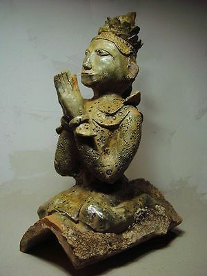 ANTIQUE BURMESE ARCHITECTURAL TERRACOTTA GLAZED RIDGE TILE FINIAL MYANMAR 19th C
