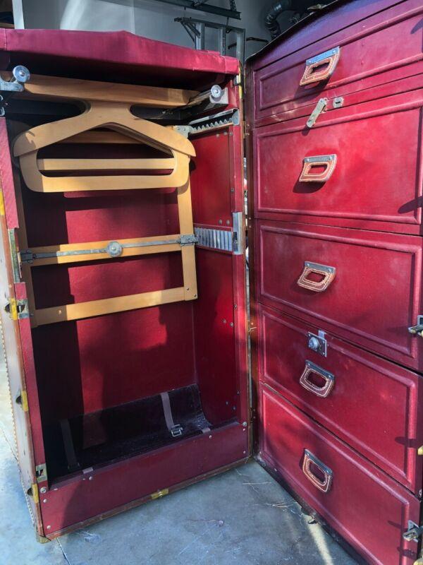 """Vintage Wardrobe Steamer Trunk Chest ~ The Oshkosh Trunk Co. ~ 42.5""""x25.5""""x10.5"""""""