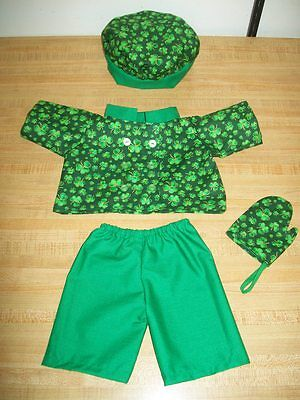 GREEN IRISH CHEF OUTFIT JACKET PANTS TOQUE MITT for 16