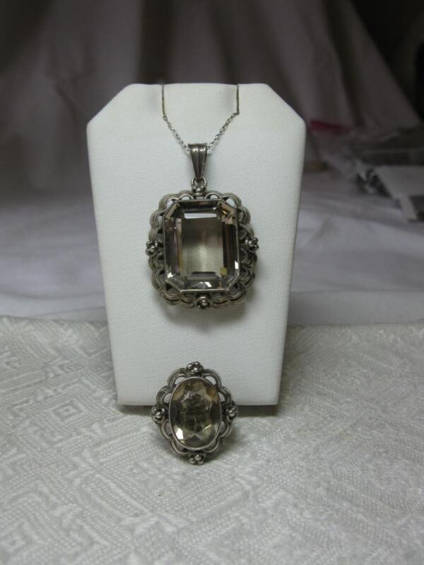 Art Deco Rock Crystal Rheinkiesel Rheingold Ring Pendant Sterling Silver Germany